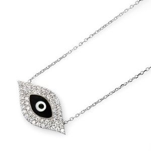 Jewelry - BLACK ENAMEL CRYSTAL EVIL EYE NECKLACE